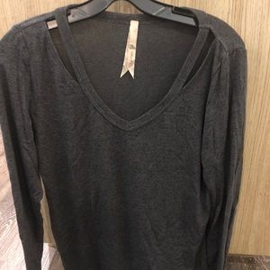 Grey long sleeve top with cute cut outs!